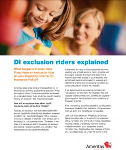 Ameritas DI - Explanation of Exclusion Riders on DI Policies