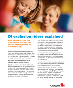Ameritas DI - Explanation of Exclusion Riders on DI Policies